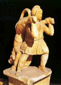 Statue dedicated to 'transitus' of Mithras, from Mithraeum near Pettau or Ptuj (Slovenia). Roman civilization, 3rd century A.D. Artwork-location: Rome, Museo Della Civiltà Romana (Museum Of Roman Civilisation)