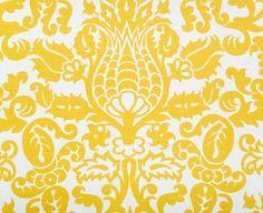 Premier Prints Amsterdam Slub Printed Cotton Drapery Fabric in Corn Yellow Damask Curtains, Yellow Curtains, Yellow Fabric, Drapery Fabric, White Fabrics, Panel Curtains, Curtain Panels, Office Curtains, Turquoise Fabric