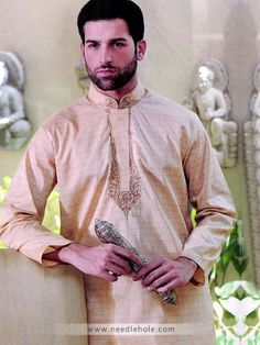 Cotton Silk Shalwar Kameez for Men, Embroidered Collar and Front, Champagne