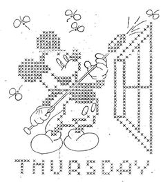 Mickey Mouse Cross Stitch Days of the Week Hand by BlondiesSpot