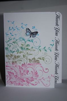 "By Kailash29 at Flickr. Uses Hero Arts stamp ""Leafy Vines."" Slice about 1/2"" off right side of card front. Stamp. Add butterfly. Stamp sentiment on inside of card so that it shows when card is closed."