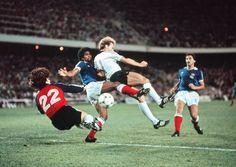 1982 FIFA World Cup, France vs West Germany after extra-time; Football Shirts, Football Players, Penalty Kick, Germany Football, Kids Soccer, Semi Final, Fifa World Cup, Goalkeeper, Kicks