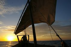 strong southerly: Zanzibar Dhow sunset #sailboat #sunset #nature #ocean