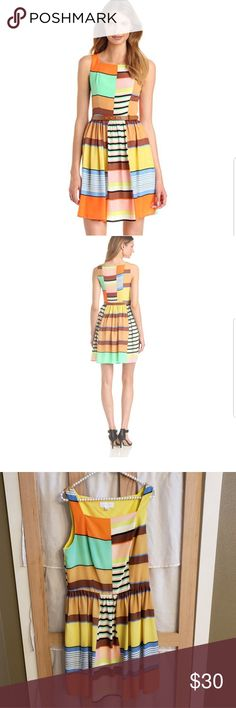 99c466224b7 Jessica Simpson Color Blocked Fit And Flare Dress Women s Fun Flirty  Sleeveless Color Blocked Fit And Flare Dress  without the belt  Polyester  Imported Dry ...