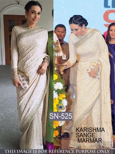 96076060a5ae24 Buy online Karishma Kapoor off white classic designer saree. This beautiful  Karishma Kapoor style classic designer saree is prettified with embroidered.