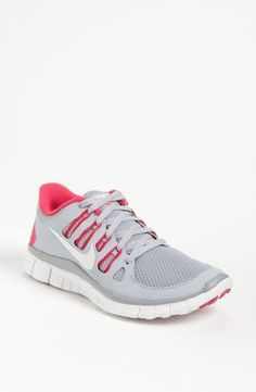 Nike Free Womens Running Shoes Wolf Grey/Pink Force-White M)