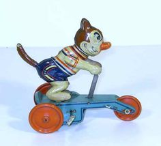 Felix The Cat on 3 Wheel Scooter - 1940's - Model VEB, Brandenburg, East Germany
