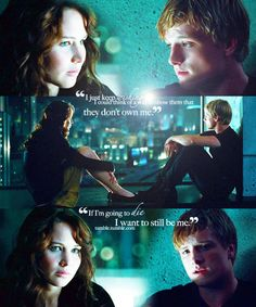"Peeta Mellark and Katniss Everdeen in ""The Hunger Games"" (Josh Hutcherson and Jennifer Lawrence)"