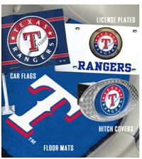 GREAT place to find Texas Rangers auto gear {car flags, licence plates, hitch covers, car mats!}