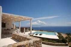 Holiday Villa in Mikonos, Greece - Private villa Gaia overlooking the superb beach of Elia Cool Swimming Pools, Best Swimming, Mykonos, Gaia, Villas, Greece, Beach, Outdoor Decor, Holiday