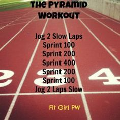 Pyramid Sprint Workout at the track Sprint Workout, Running Workouts, Sprinting Workouts, Track Workouts For Sprinters, Running Drills, Running Track, Body Workouts, Interval Training, Workout Routines