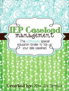*READY FOR THE 2015-2016 SCHOOL YEAR* Being a caseload manager and a teacher of children with special needs is a wonderful experience that, unfortunately, includes tons of special education jargon and paperwork that can sometimes become overwhelming. This binder is your key to tidying up your daily caseload, organizing key special education information, and focusing more on your students, rather than the paperwork.