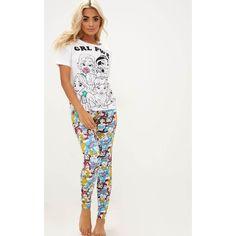 White DISNEY Princess Legging PJ Set ($20) ❤ liked on Polyvore featuring intimates, sleepwear, pajamas, white, party pajamas, white pajama set, white pajamas, white sleepwear and white pjs