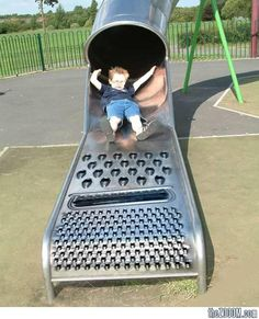 Kid on Cheese Grater Slide