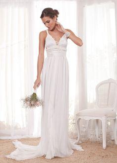 Falling Petal Back Dress with Detachable Silk Train