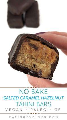 No Bake/Vegan/Paleo Salted Caramel Hazelnut Tahini Bars Paleo Desert Recipes, Best Gluten Free Recipes, Healthy Dessert Recipes, Healthy Desserts, Easy Desserts, Paleo Recipes, Paleo Chocolate, Chocolate Recipes, Vegan Fish