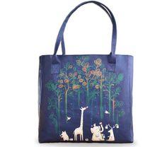 "Artist Designed Tote Bag/Shopper Bag/Beach Bag by Create&Case ""Paint the Rainforest"" stylish, unique, colourful vegan leather bag, animals, giraffe, elephant"
