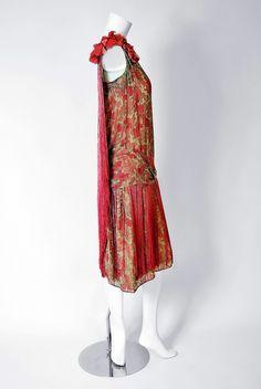1920's B. Altman Couture Metallic-Gold & Pink Lame Ombre-Fringe Flapper Dress 4