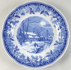 Discontinued Spode China Patterns | Pattern: Winter's Eve-Blue (Camilla Shape) by SPODE CHINA