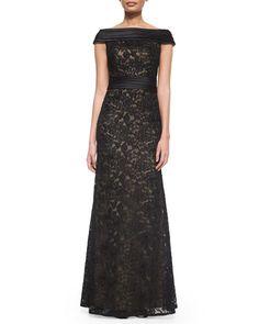 TAAN5 La Femme Off-the-Shoulder Lace Column Gown