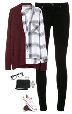 """""""Rails hunter shirt, burgundy cardigan & chucks"""" by steffiestaffie ❤ liked on Polyvore featuring AG Adriano Goldschmied, 3.1 Phillip Lim, Rails, Converse, FOSSIL, Georgini and Tory Burch"""