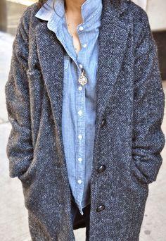 Isabel Marant herringbone tweed and chambray