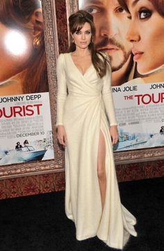Angelina rocks an Atelier Versace dress that would be beautiful as a sophisticated winter wedding gown.