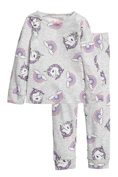 Pyjama en jersey - Gris clair chiné/licornes - ENFANT | H&M FR