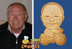 60th Birthday Ideas - Dad on a Bicycle - Custom Cookies - Personalized Favors