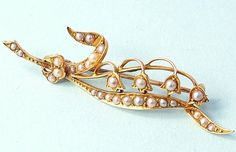 Antique Estate Victorian 15ct Gold Seed Pearl Lily OF THE Valley Brooch   eBay