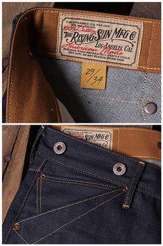 S Denim Branding, Logo Branding, Raw Denim, Denim Jeans, Boy Fashion, Mens Fashion, Vintage Soul, Rising Sun, Couture
