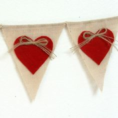 Hessian Bunting Red Hearts Twine
