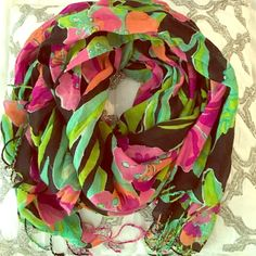 Lilly Pulitzer Murfee scarf Lilly Pulitzer Murfee scarf! I have 7 to choose from, be sure to look at all of them! I'll give you a great bundle price for multiple  this listing is just for the black, green, purple and pink floral scarf -- this scarf does have a few pulls (can be seen in the 2nd photo)happy shopping!!  Lilly Pulitzer Accessories Scarves & Wraps