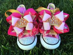 PRINCESS SHOES - Pink and gold Bows - Princess party - Pink Bling Converse - Infant/Toddler/Youth sizes - Pink and gold princess party by SparkleToes3 on Etsy https://www.etsy.com/listing/228229541/princess-shoes-pink-and-gold-bows