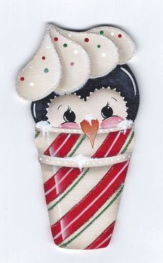 CHRISTMAS PENGUIN Penguin Ornaments, Wood Ornaments, Christmas Wood, Christmas Ornaments, Country Wood Crafts, Candy Cone, 2 Clipart, The Joy Of Painting, Cute Snowman