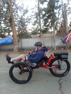 Riding on my driveway.