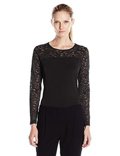 9554aacb560 Calvin Klein Women s Long Sleeve Top with Lace Yoke and Sleeves