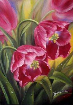 Oil on canvas. Blerta Fili Available .inbox me if interested by Blerta Fili♥♥ Arte Floral, Sala Floral, Tulip Painting, Painting & Drawing, Watercolor Flowers, Watercolor Paintings, Victorian Flowers, Colorful Drawings, Fine Art