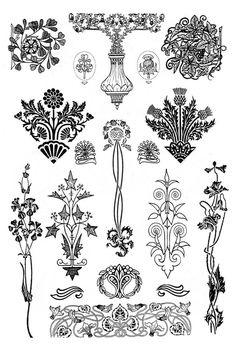 "Photo from album ""Орнаменты модерн"" on Yandex. Fleurs Art Nouveau, Motifs Art Nouveau, Motif Art Deco, Art Nouveau Pattern, Art Nouveau Design, Pattern Art, Design Art, Tatuagem Art Nouveau, Nouveau Tattoo"