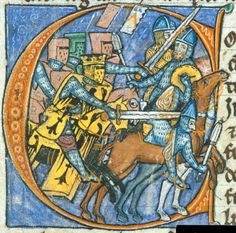 f109v Battle  Detail of an historiated initial 'C'(ourars) of a battle between Imperial knights and Saracen cavalry.