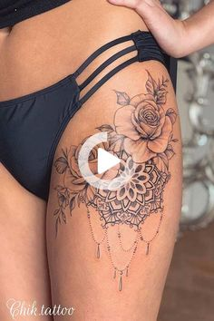Rose thigh tattoo is a big trend among women right now. If you didn't want a new tattoo before, you will after this. Here are the best 23 designs... Hip Thigh Tattoos, Rose Tattoo Thigh, Floral Thigh Tattoos, Thigh Tattoo Designs, Leg Tattoos Women, Design Tattoo, Rose Tattoos, Sexy Tattoos, Girl Tattoos
