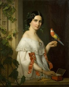 Portrait of a Lady with a Parakeet - August (Agost Elek) Canzi (Austrian, 1808-1866)