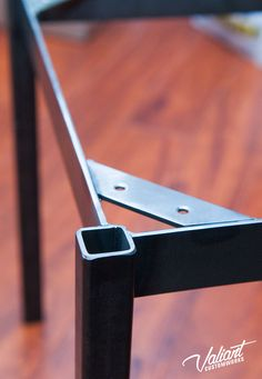 """Industrial flat-side square tube table frame - heavy duty 1"""" thickwall legs"""