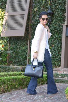 ::{fur} lining:: J Brand Lovestory Flare Jean, Apricot Faux Fur Contrast Coat, Gold Pump, BCBGMaxazria Asymmetrical top, Karen Walker Number One Sunglasses