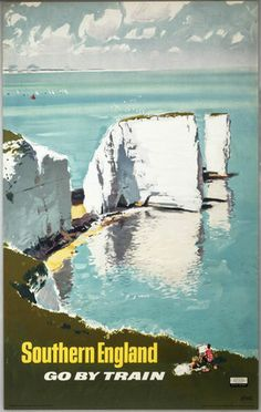 'Southern England, Go by Train', BR (SR) poster, 1960. Old Harry, Dorset!