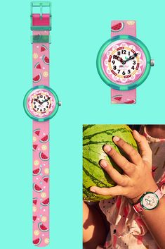 This Swiss-made watermelon watch is an essential gift for kids, and its digital printed dial will help them tell the time with ease. The pleasing pink colour of the MELONADE (ZFBNP158) draws attention to its fruity theme, and the textile strap is machine washable to keep it looking fresh. Pink Color, Colour, Telling Time, Gifts For Kids, Watermelon, Swatch, Textiles, Fresh, Printed