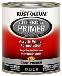 Rust-Oleum 262275 Gray Primer Automotive Auto Body Primer - 32 oz.  Use on any vehicle to achieve a durable, professional finish  Stops rust Acrylic lacquer formulation provides protection from the elements  Dries to the touch in 30 minutes and covers up to 50 sq. ft.  Long lasting, durable Gloss professional road resistant finish  For maximum benefit and protection, use complete system of Rust-Oleum auto body paint products: primer, paint and topcoat