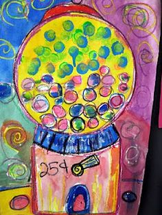 sue pelletier...laugh*paint: June 2010  pop art gum ball machine inspired by Wayne Thiebaud