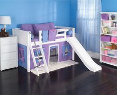 Playhouse LOW Loft Bed w/ Slide by Maxtrix Kids (purple/blue on white) (24)