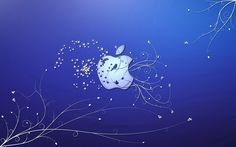 Bird and butterflies in the Apple wallpaper